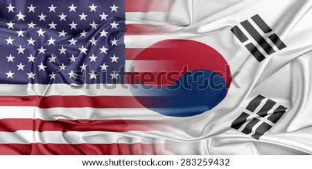 Relations between two countries. USA and Korea South - stock photo