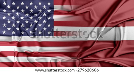 Relations between two countries. USA and Latvia. - stock photo