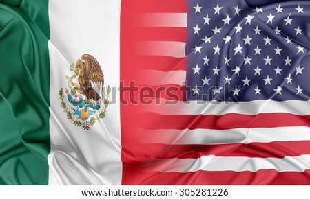 Relations between two countries. USA and Mexico - stock photo