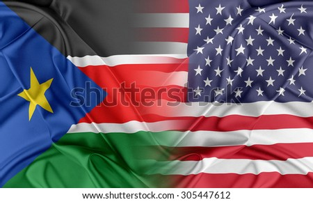 Relations between two countries. USA and South Sudan - stock photo