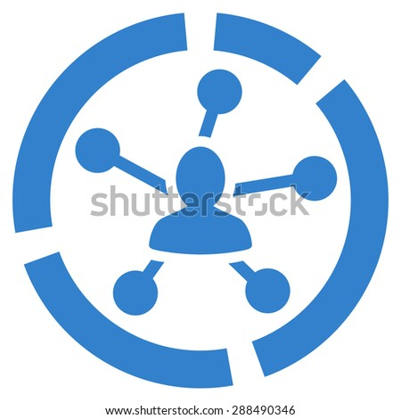 Relations diagram icon from Business Bicolor Set. Glyph style: flat symbol, cobalt color, rounded angles, white background. - stock photo