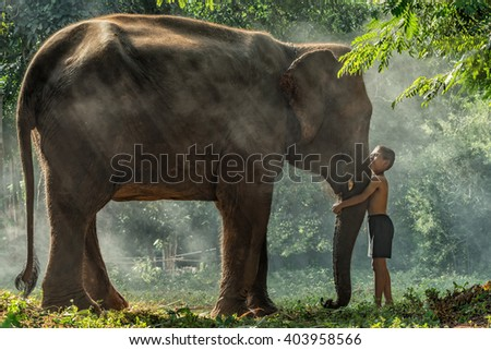 Relationship between mahout and elephant, Surin, Thailand - stock photo