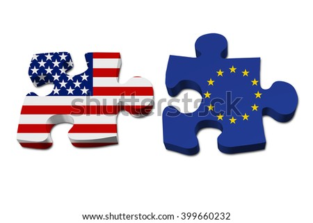 Relationship between the United Stated and European Union, Two pieces of a puzzle with the American flag on one and the European Union flag on the other isolated over white - stock photo