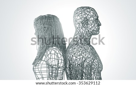 relationship difficulties, conflict and family concept.low poly - stock photo