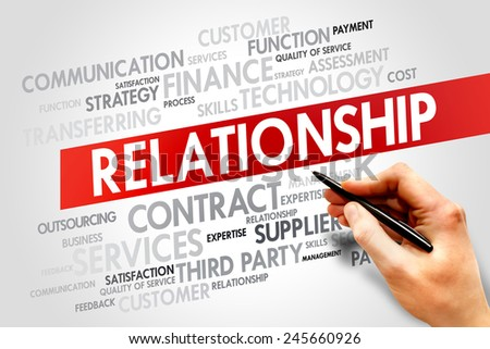 Relationship related items words cloud, business concept - stock photo