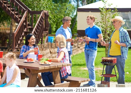 Relatives spending time together in summer