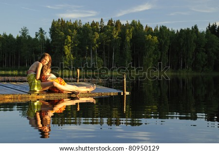 Relax after swimming - stock photo