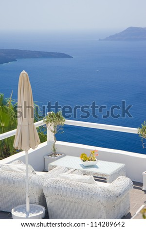 Relax at a lounge,Santorini Island,Greece - stock photo