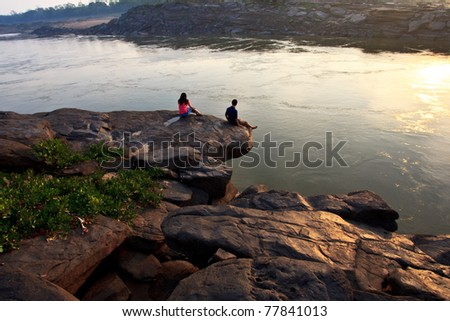Relax day on the morning at strong test cliff - stock photo