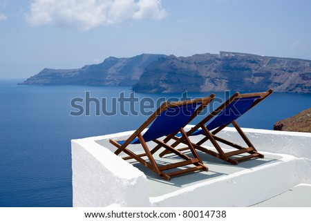 Relax on Santorini - stock photo