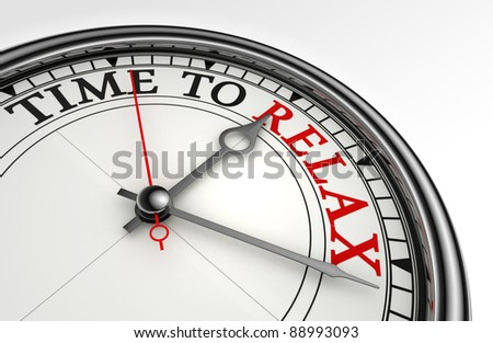 relax red word on concept clock closeup on white background