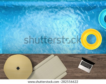 relaxation by poolside view from above - stock photo