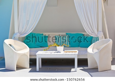 relaxation lounge in luxury resort - stock photo