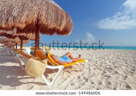 Relaxation on the idyllic beach of Caribbean Sea, Mexico - stock photo