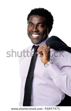 relaxed businessman portrait. Black businessman holds jacket over his shoulder