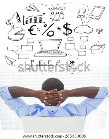 Relaxed businessman sitting in his chair against brainstorm graphic