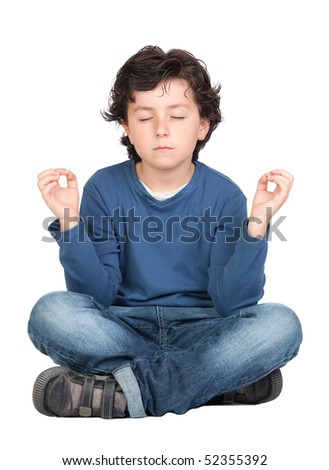 Relaxed child practicing yoga on a white background - stock photo