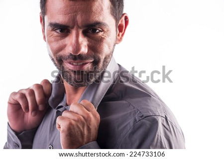 relaxed man smiling - stock photo