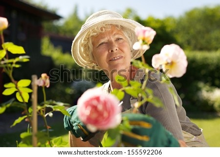 Relaxed mature lady working in her garden - Outdoors - stock photo