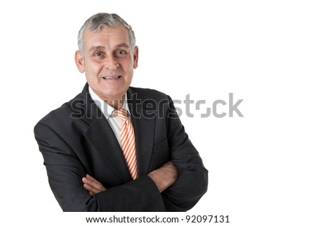 Relaxed senior business man. Isolated on white background - stock photo