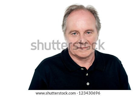 Relaxed senior caucasian male looking at you. White background