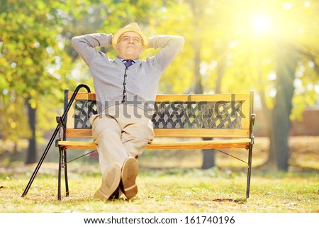 Relaxed senior gentleman sitting on wooden bench in a park on a sunny day  - stock photo