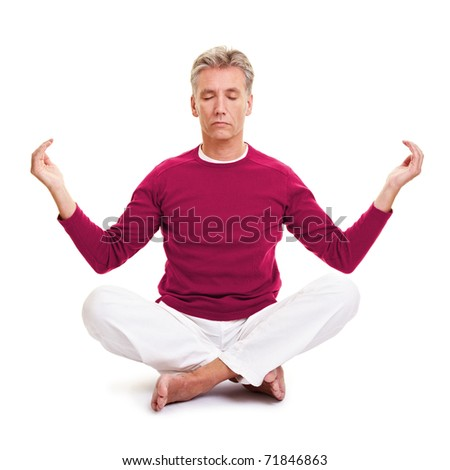 Relaxed senior man meditation in a tailor seat - stock photo