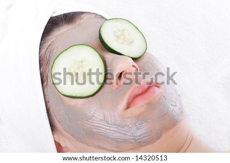 Relaxed woman during a beauty treatment - stock photo