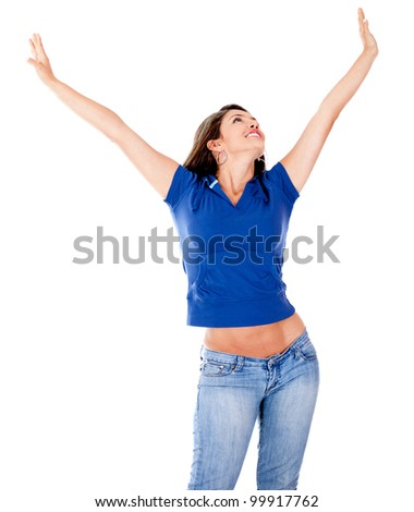 Relaxed woman with outstretched arms - isolated over a white background