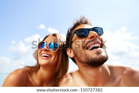 Relaxed young dates having fun on summer day - stock photo