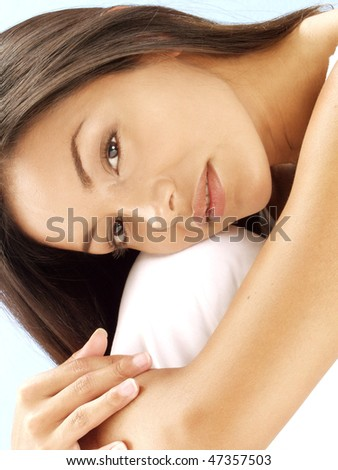 Relaxed young latin woman. - stock photo