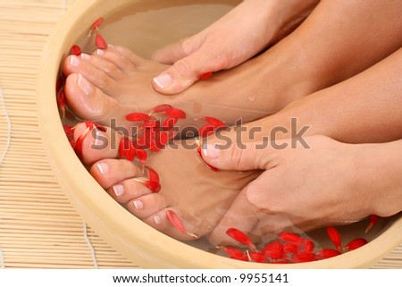 relaxing bath with flower petals - beauty treatment