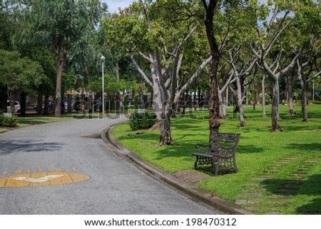 relaxing bench, chair, stool beside walkway in the public park, wait for resting people