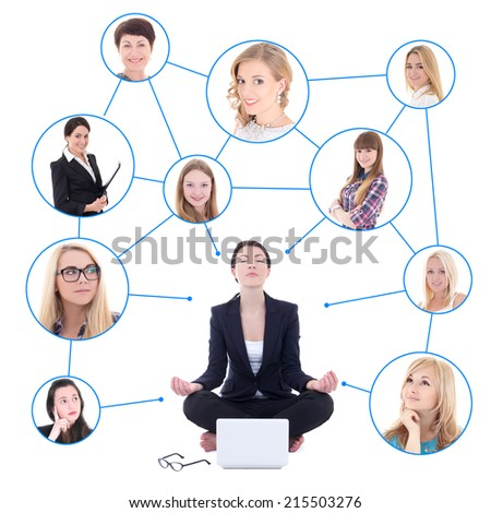 relaxing business woman sitting with laptop and her social network isolated on white background - stock photo