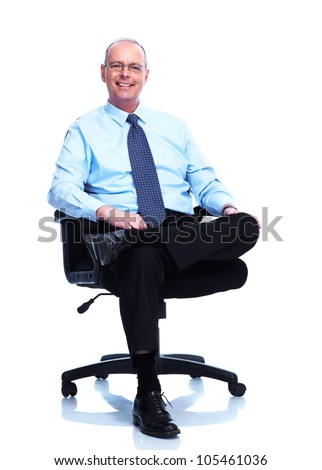 Relaxing businessman. Isolated on white background. - stock photo