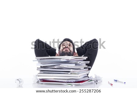 Relaxing guy on table - stock photo