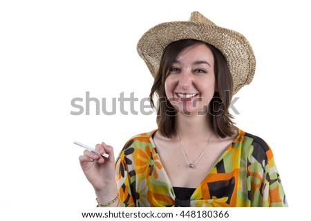 Relaxing happy smiling woman whith hat thinking about summer holidays