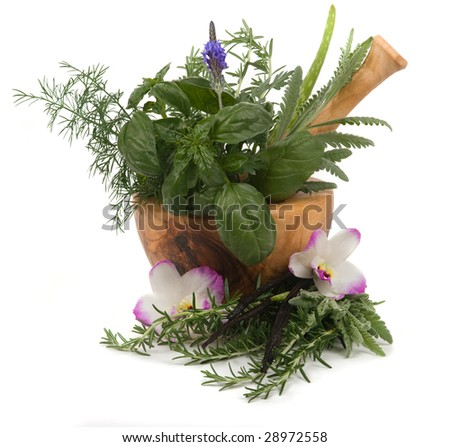 Relaxing herbs for aromatherapy - stock photo