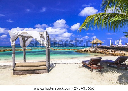 relaxing holidays in Seychelles islands. La Digue - stock photo