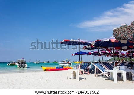 Relaxing in holida at the beach and blue sky at Koh Larn, Pataya,Thailand - stock photo