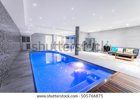 indoor swimming pool lighting. Relaxing Indoor Swimming Pool With Lighting And A Corner For Rest. Luxury Resort H