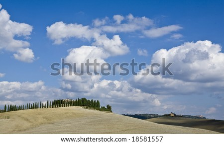 relaxing landscape of tuscan rural area in a beautiful day - stock photo