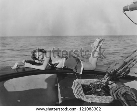 Relaxing on a yacht - stock photo