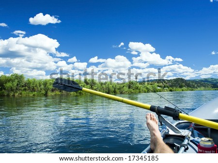 Relaxing on the Missouri River - stock photo