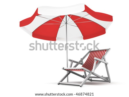 Relaxing Place. Single deck chair and umbrella isolated on white background. 3D rendered image - stock photo