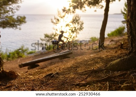 Relaxing scene with sport activity in the forest - stock photo