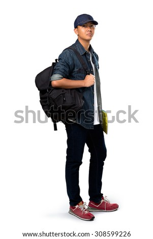 Relaxing young asian teenager boy standing, Isolated over white - stock photo