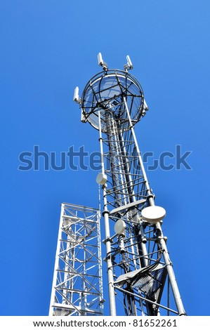 relay antenna on blue sky background