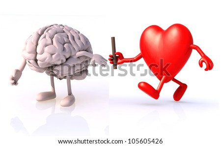 relay between brain and heart, the concept of organ donation or cooperation, exchange of expertise, knowledge - stock photo