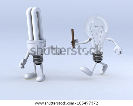 relay between light bulb and cfl bulb, the concept of innovation or exchange of expertise - stock photo